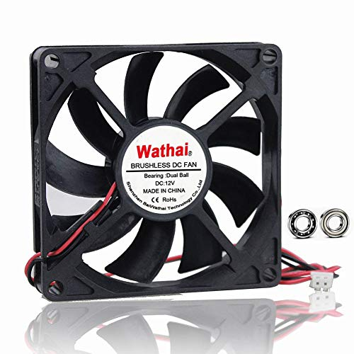 Wathai DC Coolng Fan 80x80x15mm 80mm 12V Dual Ball Bearing Brushless Case Cooler Fans