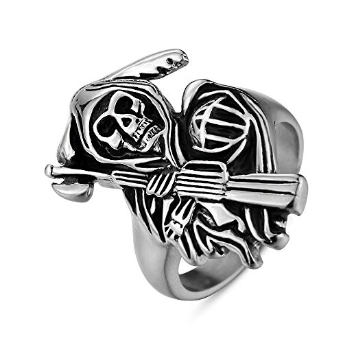 Sping Jewelry Sons of Anarchy - Anillo de acero inoxidable para hombre plateado