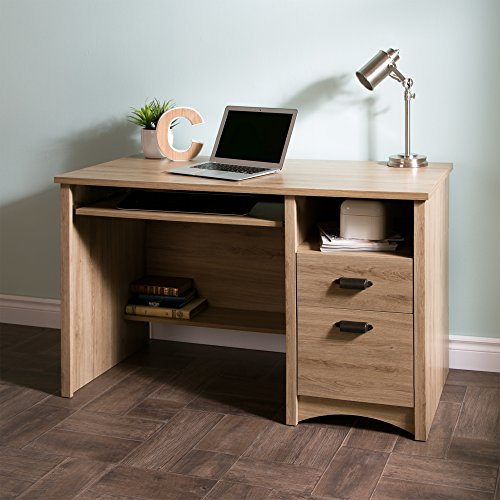 South Shore Computer Desk with 2 Drawers and Keyboard Tray, Rustic Oak