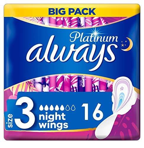 Always Noche De Platino (Tamaño 3) Alas Sanitarias 120 g