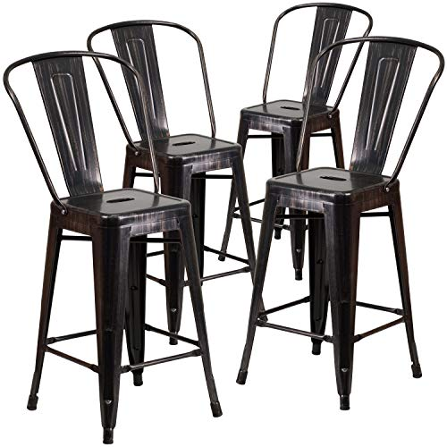 Flash Furniture Commercial Grade 4 Pack 24 High Black-Antique Gold Metal Indoor-Outdoor Counter Height Stool with Removable Back