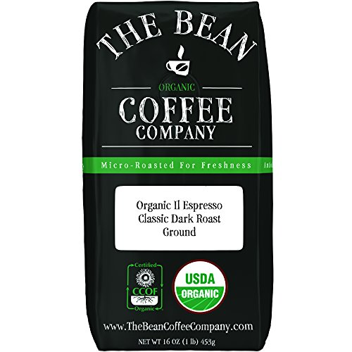 The Bean Coffee Company Organic Il Espresso, Classic Dark Roast, Ground, 16-Ounce Bag