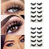CerroQreen Eyelashes 10 Pairs Pack of 2, 3D mink lashes Hand-Made Dramatic Thick Crisscross Deluxe False Lashes Nature Fluffy Long Soft Reusable (Black 2 pieces)