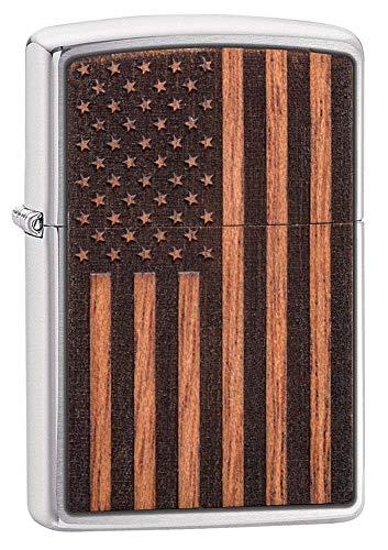 Zippo Woodchuck USA Flag Pocket Lighter, Accendino. Unisex-Adulto, Bandiera Americana cromata Spazzolata, Taglia Unica