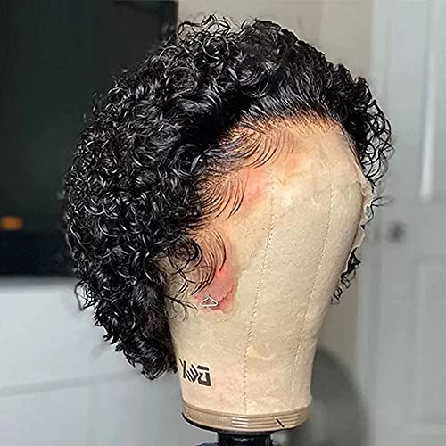 Short Pixie Cut Curly Wig Short Bob 13X4 Lace Front Virgin Brazilian Human Hair Wig 180% Pix Style For Black Women Pre Plucked Cheap Remy Hair Wig for Black Women (13X4 Lace Front Wig)