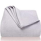 LAYNENBURG Premium Tagesdecke 220 x 240 cm XXL - Waffelpique 100prozent Baumwolle - leichte Sommerdecke - Baumwolldecke als Bett-Überwurf, Sofa-Überwurf, Couch-Überwurf - luftige Sofa-Decke (grau)
