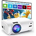 """Vili Nice 6500-Lumens Outdoor Movie Projector with 100"""" Projector Screen"""