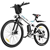 VIVI Folding Electric Bike, Electric Mountain Bike 350W Electric Bicycle 26'' Electric Bike for Adults with Removable 8Ah Battery, Professional 21 Speed Gears, Full Suspension (White)