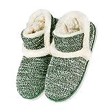 Zapatillas casa para Unisexo Antideslizante Pantufla Cerrada Pelusa Invierno Verde EU 37/38(Asia 38/39)