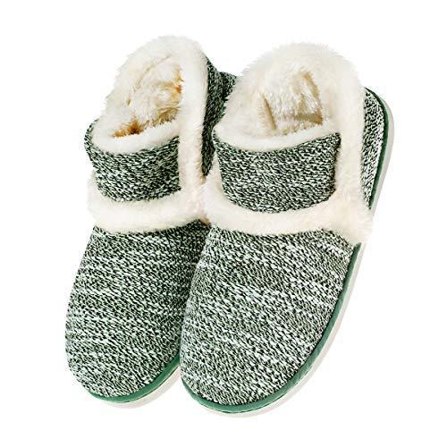Zapatillas casa para Unisexo Antideslizante Pantufla Cerrada Pelusa Invierno Verde EU 39/40(Asia 40/41)