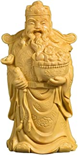 ZLBYB Boxwood Carving Solid Wood Buddha Statue Craft Home Decoration Feng Shui Sculpture Chinese God of Wealth Home Decor