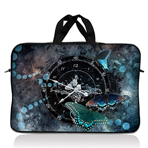 LSS 17-17.3' Laptop Sleeve Bag Compatible with Acer, Asus, Dell, HP, Sony, MacBook and More | Carrying Case Pouch w/Handle,Clock Butterfly Time