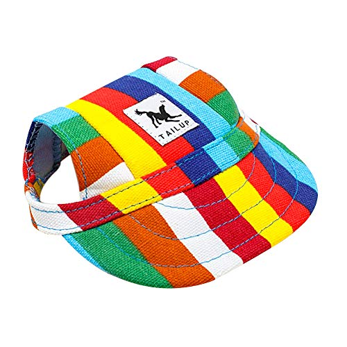 Happy Hours Dog Hat, Pet Baseball Cap/Dogs Sport Hat/Visor Cap with Ear Holes and Chin Strap for Dogs and Cats, 2 Sizes, 10 Colors (Size L, Stripes)