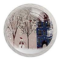 4パックキッチンキャビネットノブ、ドレッサー引き出し用ノブ 冬の雪だるまビルの木漫画かわいい ドアハンドルを引く