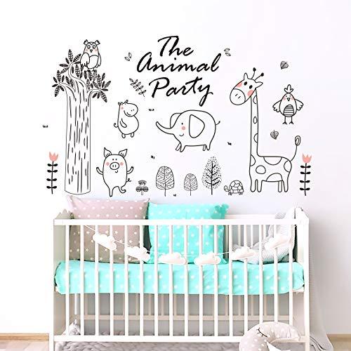 onetoze Wandtattoo Kinderzimmer Tiere Wandtattoo Elefant Giraffe Aufkleber Dschungel Wandtattoo Baum Deko Wandaufkleber Kinderzimmer Wandtattoo Babyzimmer Junge Mädchen , 96x160cm