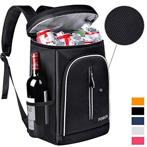 FORICH Cooler Backpack Soft Backpack Cooler Bag Leak Proof Insulated Cooler Backpacks to Beach Camping Hiking Picnic Work Lunch Travel for Men Women Black