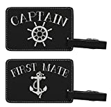 Couples Cruise Luggage Tags Captain & First Mate Matching Luggage Tags for Cruise Ships Gifts 2-pack Laser Engraved Leatherette Luggage Tags Black