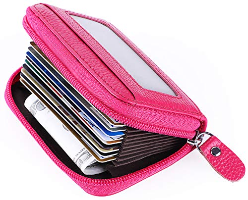 MaxGear Leather Credit Card Holder Credit Card Wallet with Zipper Genuine Leather Credit Card Protector RFID Small Zip Around Wallet Red