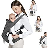 Baby Carrier, 6-in-1 Baby Carrier with Waist Stool with Hip Seat for Breastfeeding One Size Fits All Baby Carrier (Gray)