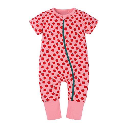 TEFIIR Neugeborene Baby Jungen Jungen Strampler Jumpsuit Outfits Baby Kurzarm Brief Cartoon Tierwolke Frucht Robe Reißverschluss Kletteranzug (0-3Y)