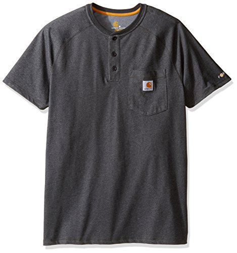 Carhartt Men's Force Delmont Short Sleeve Henley T-Shirt (Regular and Big & Tall Sizes), Carbon Heather, X-Large
