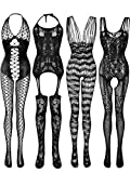 4 Pieces Women's Lace Stockings Lingerie Floral Fishnet Bodysuits Lingerie Nightwear for Romantic Date Wearing (Black)