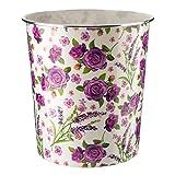 Home Plus 7.7 Litre Quality Floral Design Lightweight Waste Paper Basket Bin (Shabby Chic Purple Roses & Lavender)