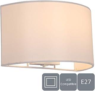 HARPER LIVING 1 lámpara de pared E27 ES con interruptor, pantalla de tela semicírculo marfil, apta para actualización LED, ideal para dormitorio, sala de estar, pasillo, hotel, B y B