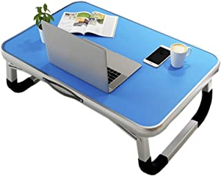 Laptop Desk,Deakj Bed Table Aluminum Alloy Light Large Pink Used For Student Dormitory Writing Learning (Color : Blue, Siz...