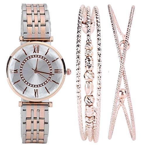 DAUERHAFT Reloj para Mujer, con 2 Piezas de Pulsera y un Reloj y una Hermosa Caja de Regalo, Juego de Regalo de joyería de Moda, Adecuado para Regalos/Novias(Plata Rosa Blanco)
