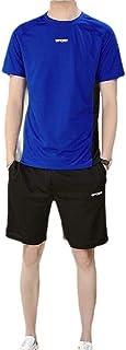 Men Sport 2 Piece Short Sleeve T-Shirt and Shorts Set Running Jogging Athletic Tracksuit Set