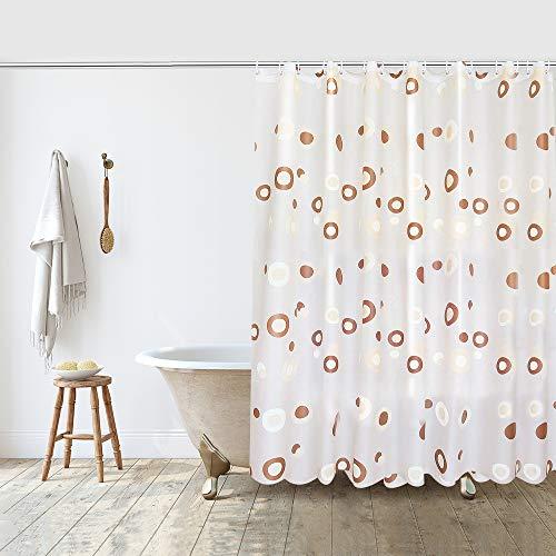 Duschvorhang Kaffee Punkte 180x200 cm, PEVA Shower Curtains Duschvorhänge Badvorhang Anti Schimmel, Duschvorhang Waschbar Wasserdicht mit 12 Duschvorhangringe für Badezimmer Badewanne