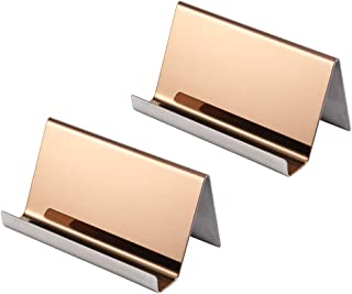 YOSCO Stainless Steel Business Card Holder for Desk Office Business Card Stand Collection Organizer for Name Card, Business Card Display, 2 Pack (Rose Gold)