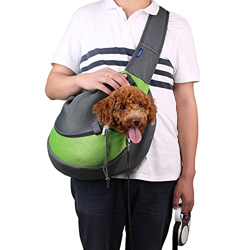 CISNO Small Pet Dog Cat Kitty Carry Carrier Outdoor Travel Oxford Single Shoulder Bag Sling(Green,...