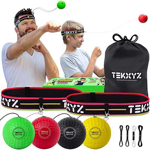 TEKXYZ Boxing Reflex Ball Family Pack | 2 Adjustable Headbands + 2 Novice Reflex Balls + 1 Veteran Reflex Ball + 1 Boxer Reflex Ball and More