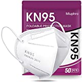 Miuphro KN95 Face Mask, 5-Layer Design Cup Dust Safety Masks 50 Pack White