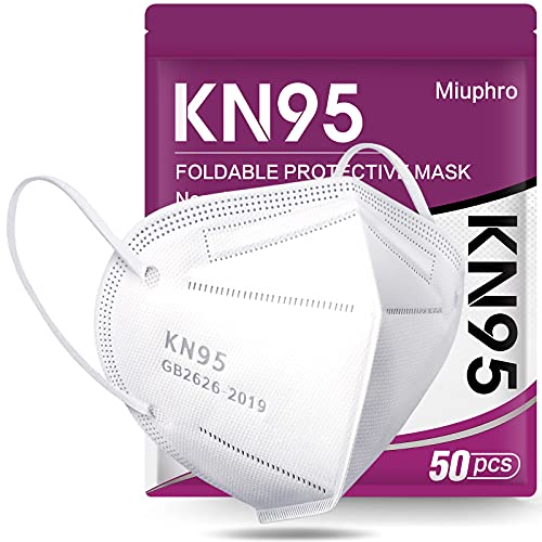 KN95 Face Mask - 5 Layer Design Cup Dust Safety Masks, Breathable Protection Masks Against PM2.5 Dust Bulk 50 Pack