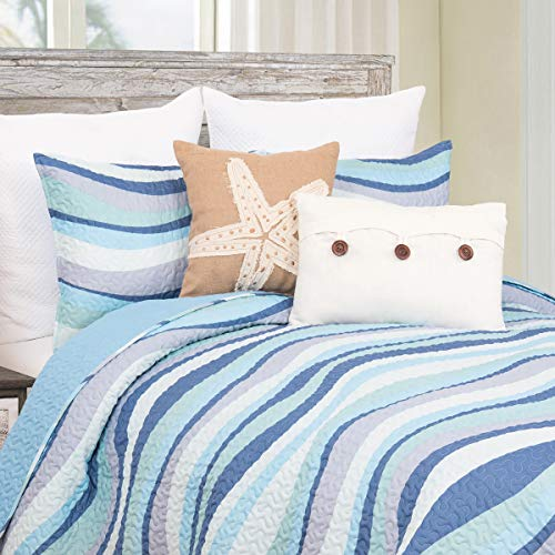 C&F Home Sea Waves Seawaves Blue Ocean Coastal Twin 2 Piece Beach Reversible Coverlet Quilt Set with 1 Sham Twin 2 Piece Set Blue