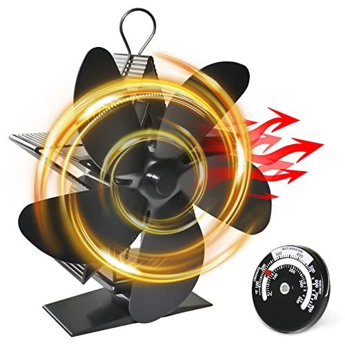 Ventilatore per stufa, senza corrente, ventilatore magnetico per canna fumaria, camino, stufa a legna, stufa a pellet, camino, camino a pellet, ventilatore senza corrente con termometro (5 pali)