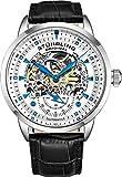 Stuhrling Original, orologio automatico da uomo con scheletro, cinturino in pelle nera, orologio meccanico, collezione Executive Watch Cruz V2 Fresh Foam