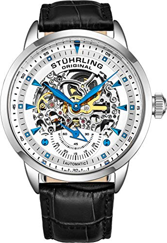 Stuhrling Original Mens Watch-Automatic Watch Skeleton Watches for Men - Black Leather Watch Strap Mechanical Watch Silver Executive Watch Collection (Silver/Blue)