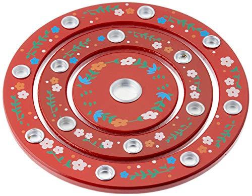 Idena 40027 - Geburtstagsringe aus Holz, Rot, Durchmesser 18,5 cm, für 1 Lebenslicht und 14 Geburtstagskerzen, Kindergeburtstag, Geburtstagskerzen, Dekoration