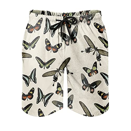 Ktewqmp Zomer zwembroek vintage vlinder mannen zwembroek zwemmen shorts mannen met zakken veilig