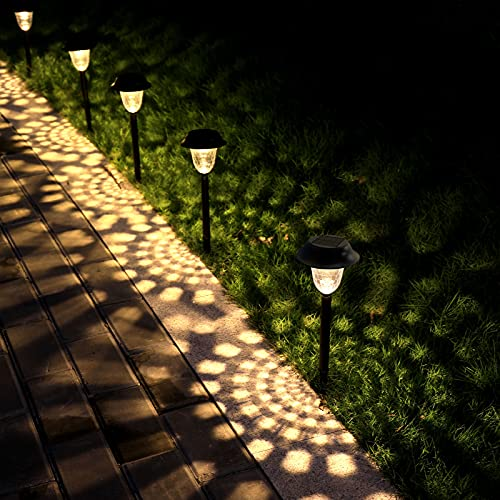 Whousewe Solar Outdoor Pathway Lights 8 Pack - LED Landscape Garden Lights Solar Powered, Waterproof Auto On / Off Wireless Easy Installation Solar Lights Outdoor Decorative for Walkway Patio Yard