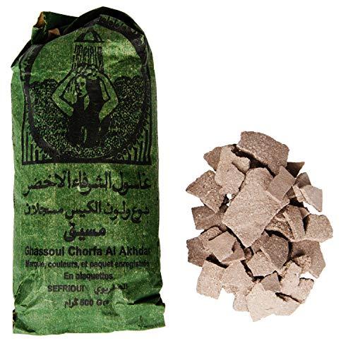 Ghassoul Lavaerde Granulat 500g | Original Marokkanische Tonerde als Gesichtsmaske für Gesichtsreinigung im Beutel | Natürliches Peeling für Gesicht Haut und Haare | Wascherde als Körperpflege