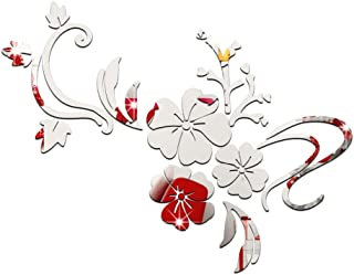 Vosarea 3D Mirror Flower Wall Stickers DIY Wall Art Decals Decorative Wall Sticker Murals