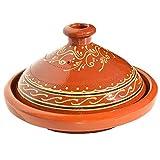 Marokkanische Tajine, Rund, Ø 26 cm, glasiert zum Kochen für 1-2 Personen, Tontopf, Gartopf, Schmortopf, Handmade Marrakesch, Orientalisch, Arabisch, schadstofffreie Lehmerde