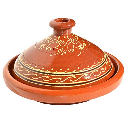 Tajine - Pentola in terracotta originale dal Marocco, per cottura in stile marocchino, diametro 26 cm, per 2-3 persone, realizzata a mano in Marrakech