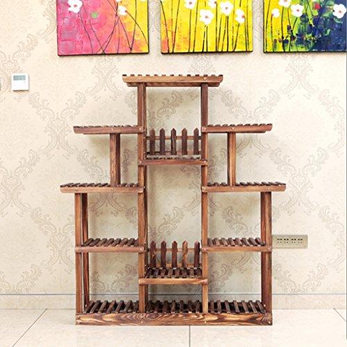 Udfybre Support en Bois Solide de Fleur, Support de Fleur de Couleur de Cuisson au Four de Multi-étage, Support de Stockage Mobile de Plancher de Balcon de Type de Plancher (Couleur : B)