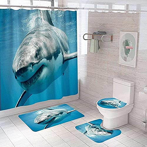 4-Teiliges Badezimmer Set Great White Shark Tier Duschvorhang Set Digitaldruck Polyester Duschvorhang Perforierter Badezimmervorhang Duschabdeckung180X180Cm (71X71Zoll)